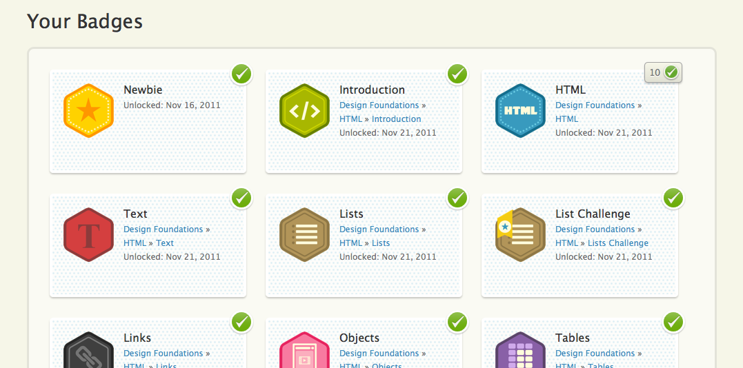 screen shot of Treehouse's badge collection