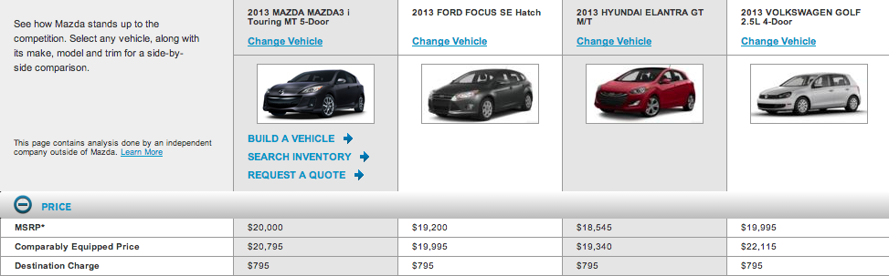 screen shot of Mazda car comparisons