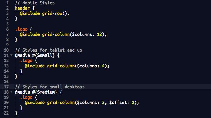 screenshot of SCSS code
