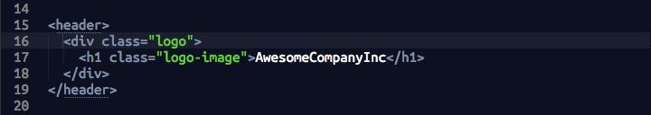 screenshot of HTML header code