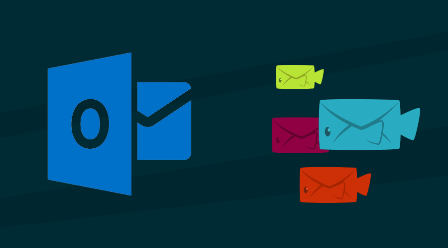 Illustration of email fish swimming towards the outlook logo. No, really.