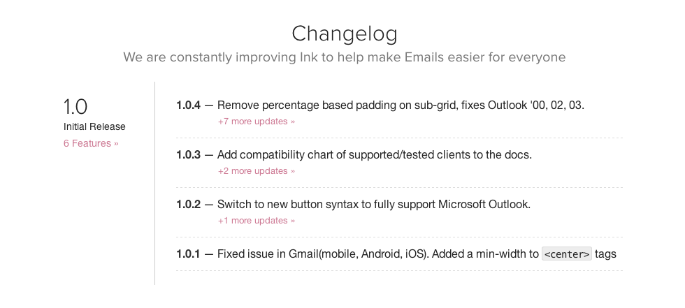 screen shot of the ink change log