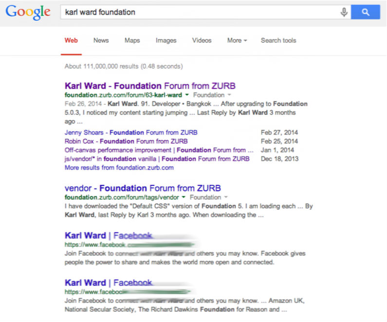 Screen shot of Google search results for a Foundation certified designer. It's nice to be recognized.