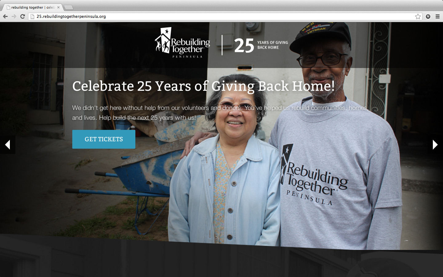 screenshot of the new Rebuilding Together Peninsula site