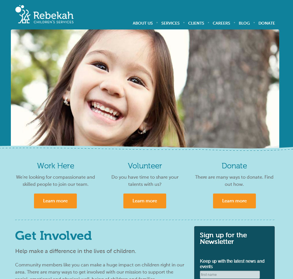 screenshot of the new Rebekah Children Services site