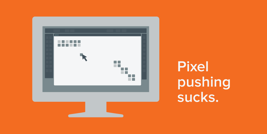 Illustration depicting the drudgery of pixel pushing
