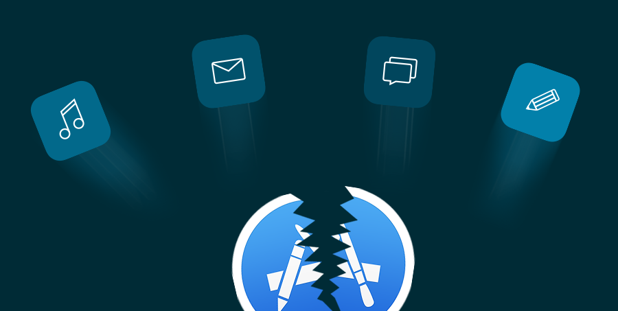 Illustration if app icons breaking free from a broken app store