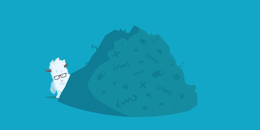Illustration of the Yeti and a pile of code