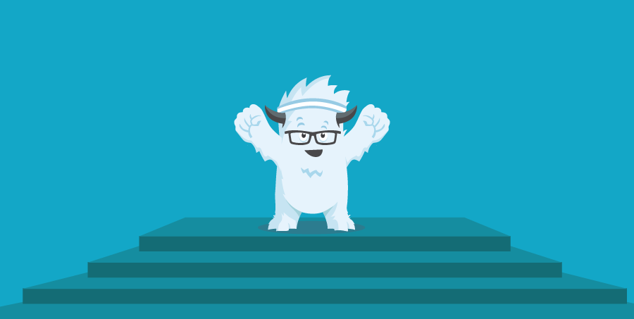 Illustration of a triumphant Yeti