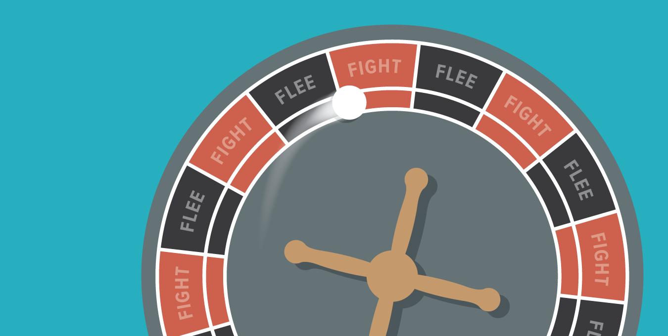 Designers must choose between fight or flight illustration