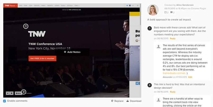 Notable Annotations Set of The Next Web Redesign