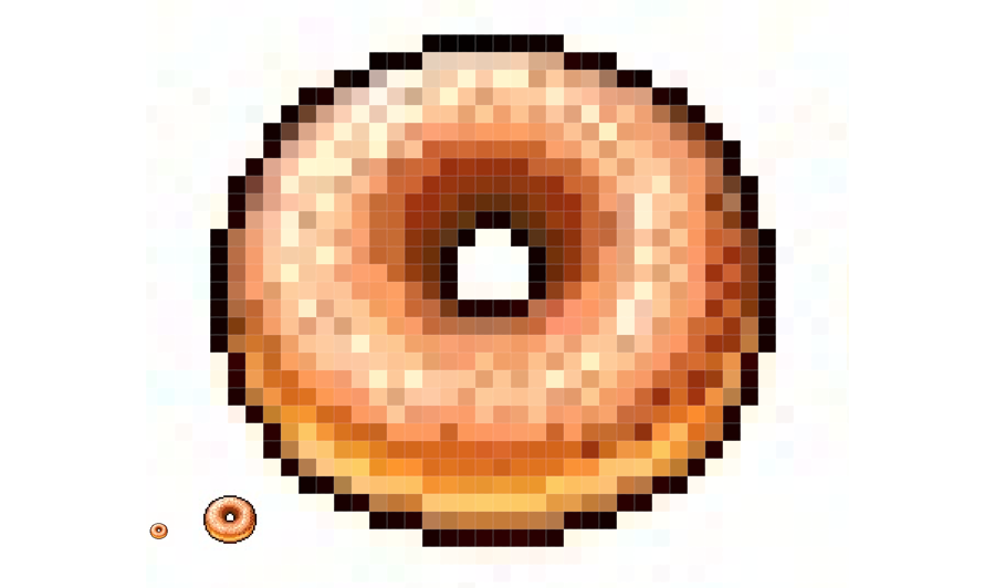 Image of a pixelized glazed donut