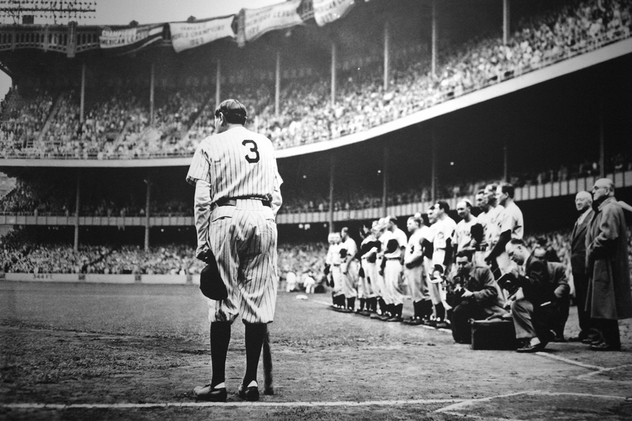 Photo of Babe Ruth on the plate