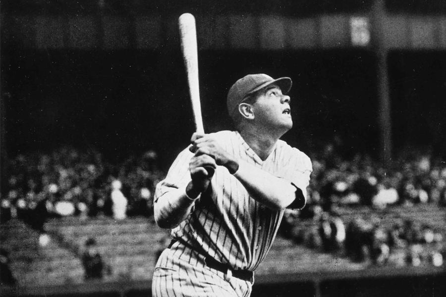 Closeup photo of Babe Ruth at bat