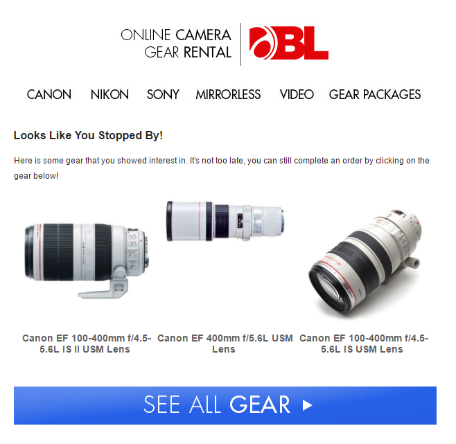BorrowLenses.com Email