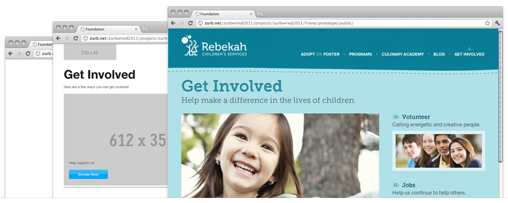 screenshots of the new Rebekah Children Services Site, its sketch, prototype and wireframe