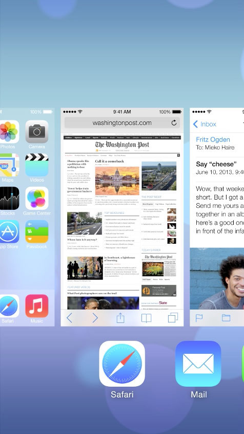 screenshot of the iOS7 multi-task screen