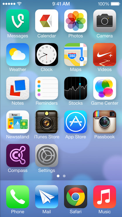 screenshot of the iOS7 home screen and new app icons