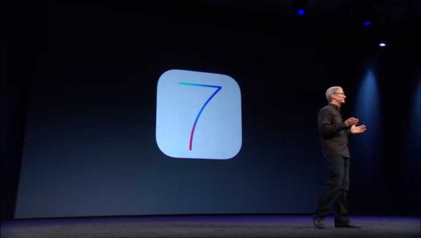 photo of Apple CEO Tim Cook on stage introducing iOS 7 at WWDC 2013