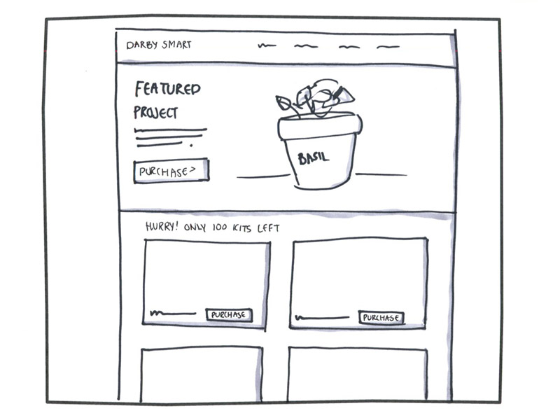 sketch of Darby Smart homepage